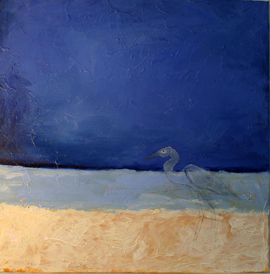 Seascape Painting - Blue With Bird by Victoria Sheridan