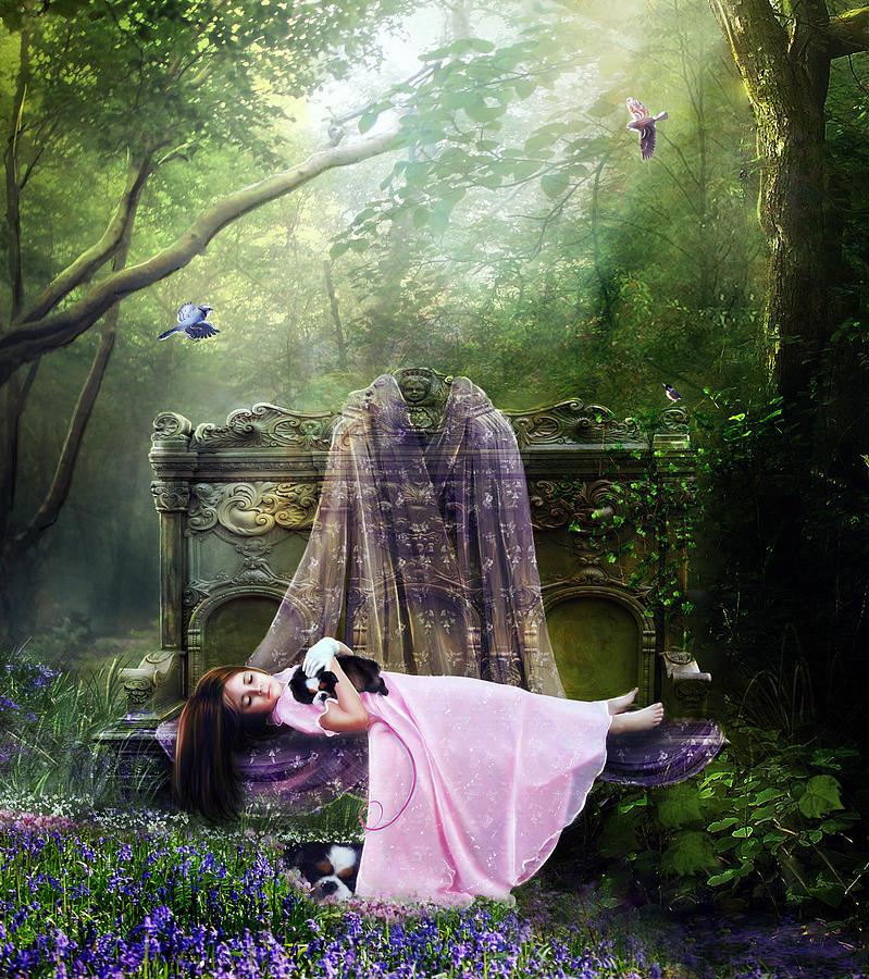 Girl Digital Art - Bluebell Dreams by Mary Hood