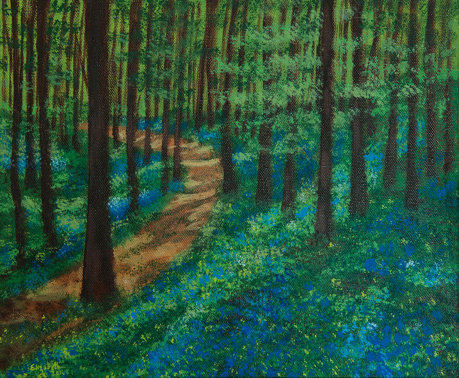 Forest Painting - Bluebell Forest by Elizabeth Mundaden