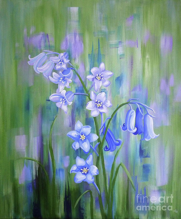 Bluebells Painting - Bluebell Haze by Julia Underwood