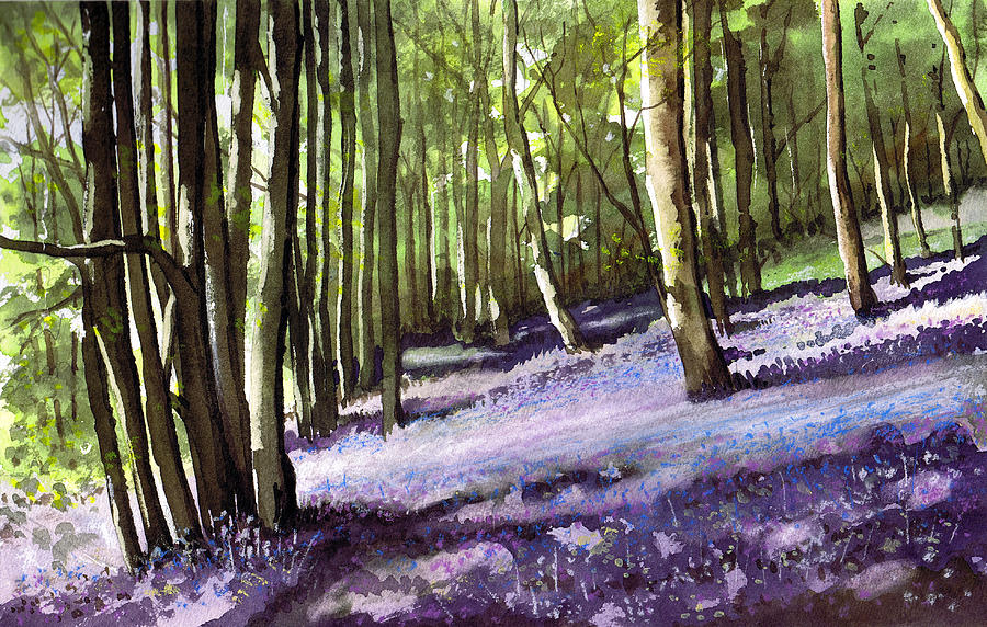 Woodland Painting - Bluebells At Grimescar Wood by Paul Dene Marlor