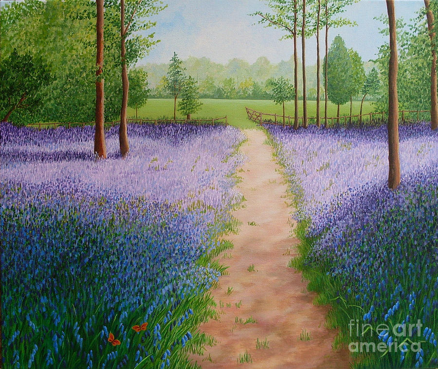 Bluebells Painting - Bluebells with Butterflies by Julia Underwood