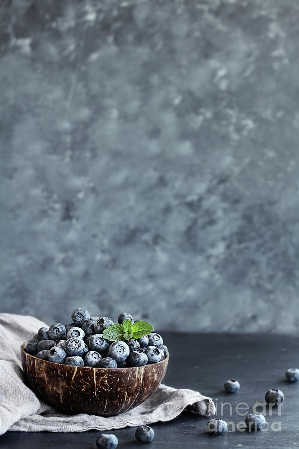 Blueberries in a Coconut Bowl by Stephanie Frey