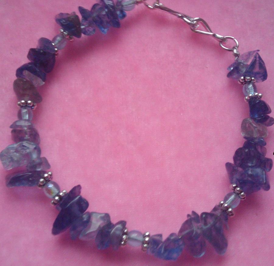Bracelet Glass Art - Blueberry Blue by Melanie A Leon