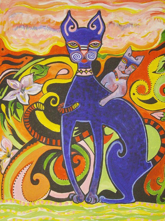 Cat Painting - Blueberry Cat by Elizabeth Bonanza