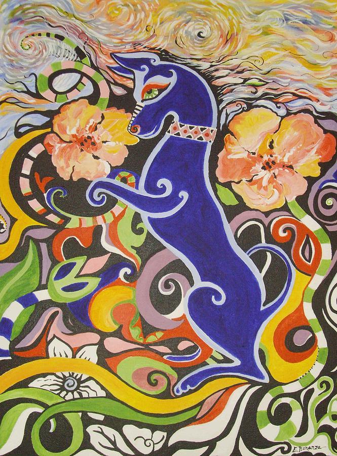Landscape Painting - Blueberry Dog by Elizabeth Bonanza