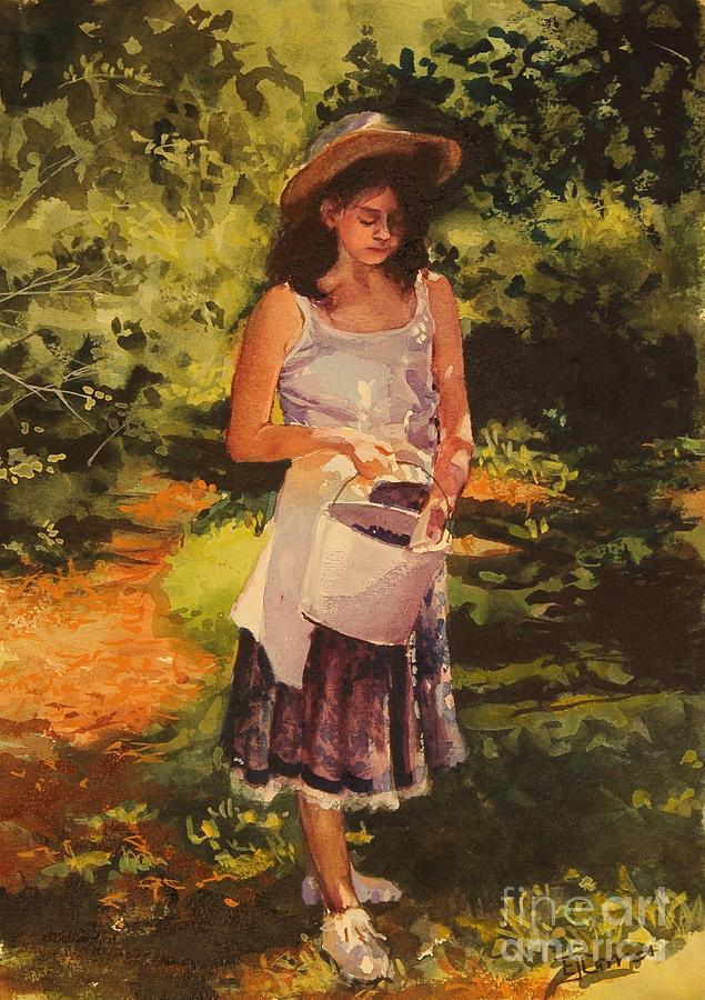 Girl Painting - Blueberry Girl by Elizabeth Carr