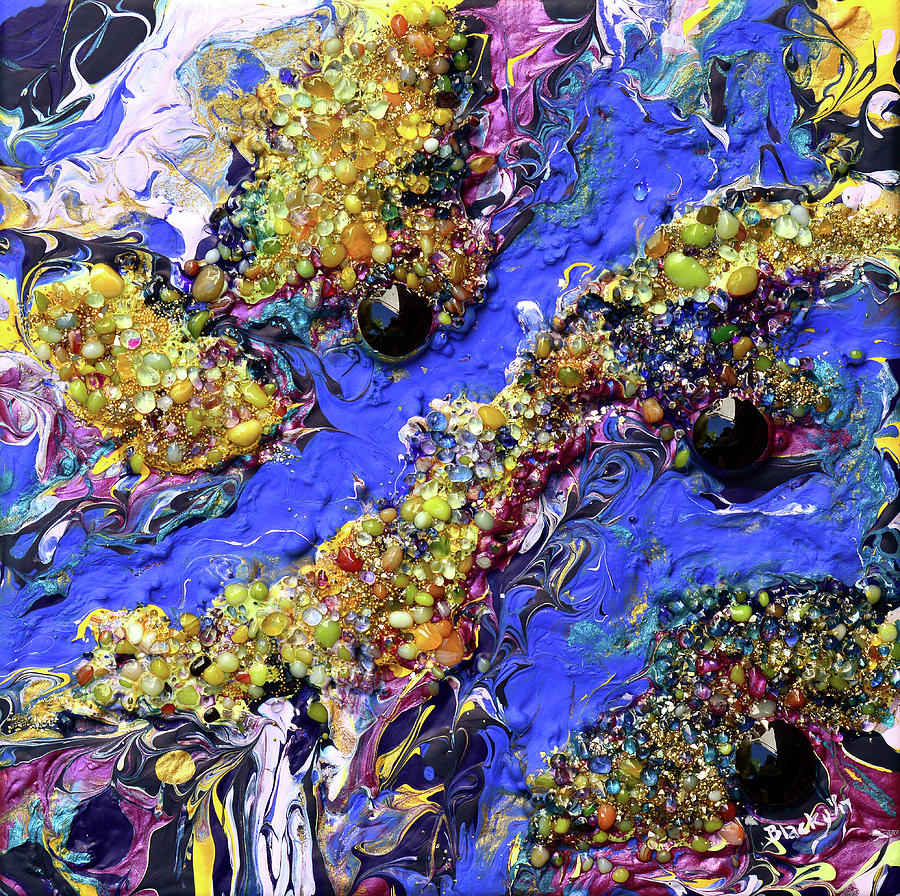 Colorful Abstract Mixed Media - Blueberry Mash by Donna Blackhall