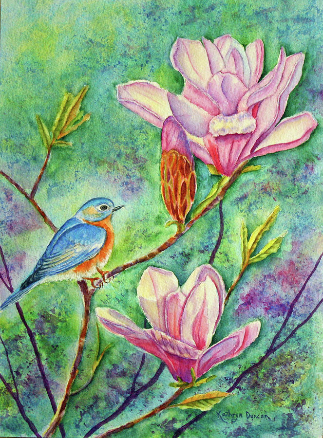 Bluebird and Magnolia by Kathryn Duncan
