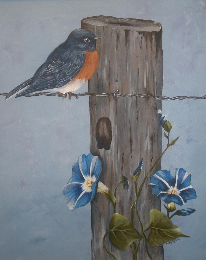 Birds Painting - Bluebird And Morning Glories by Betty-Anne McDonald