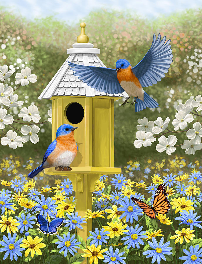 Wild Birds Painting - Bluebird Garden Home by Crista Forest