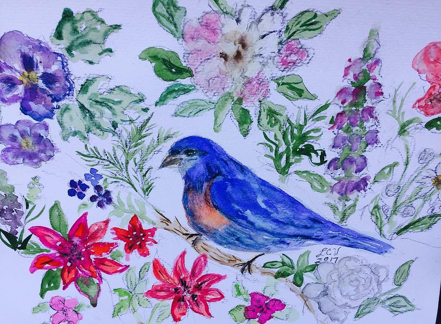 Bluebird in a garden by Lucille Valentino