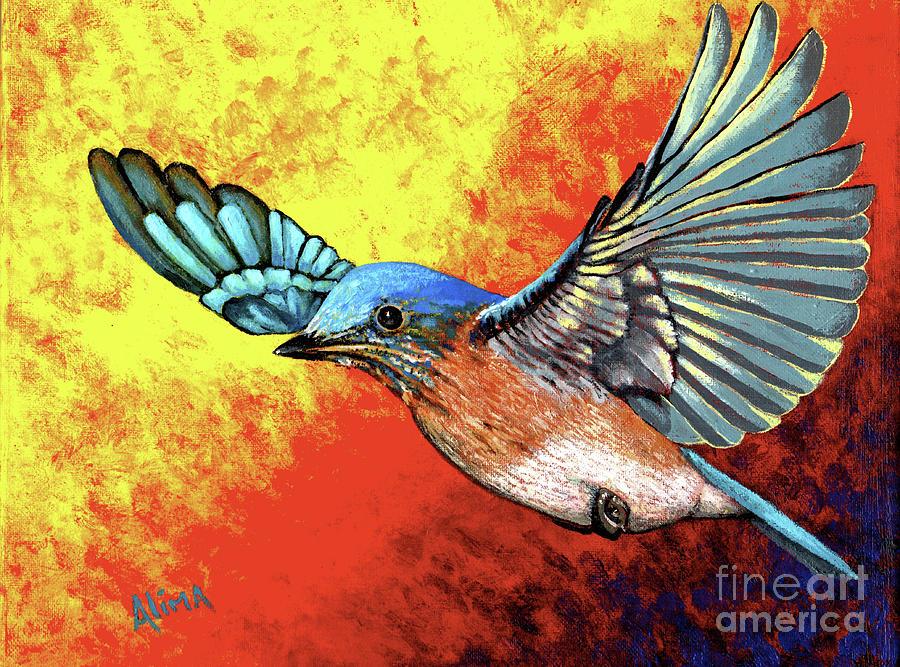 Bluebird Painting - Bluebird In Flight by Alima Newton