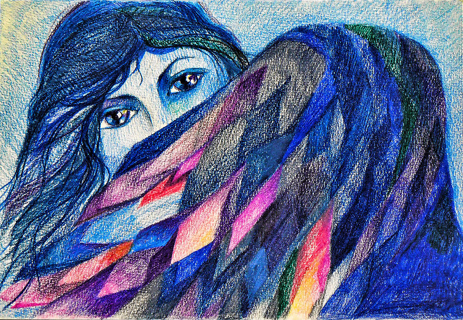 Fantasy Drawing - Bluebird Of Happiness. by Anastasia Michaels