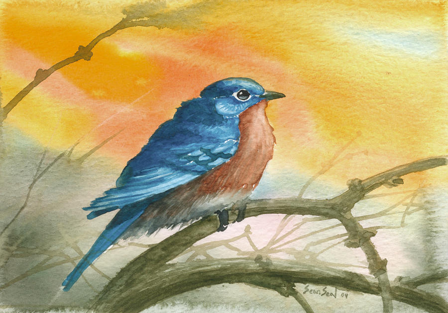 Bluebird Painting - Bluebird by Sean Seal