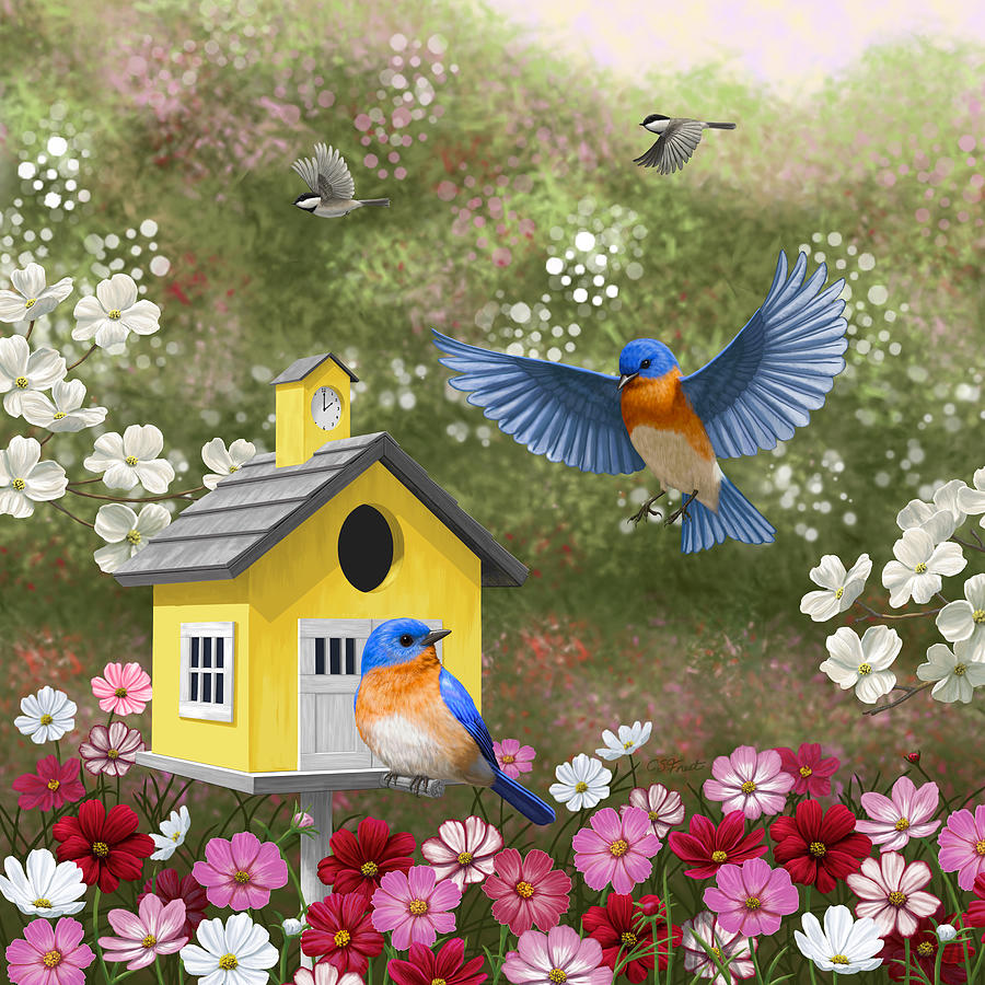 Wild Birds Painting - Bluebirds And Yellow Birdhouse by Crista Forest