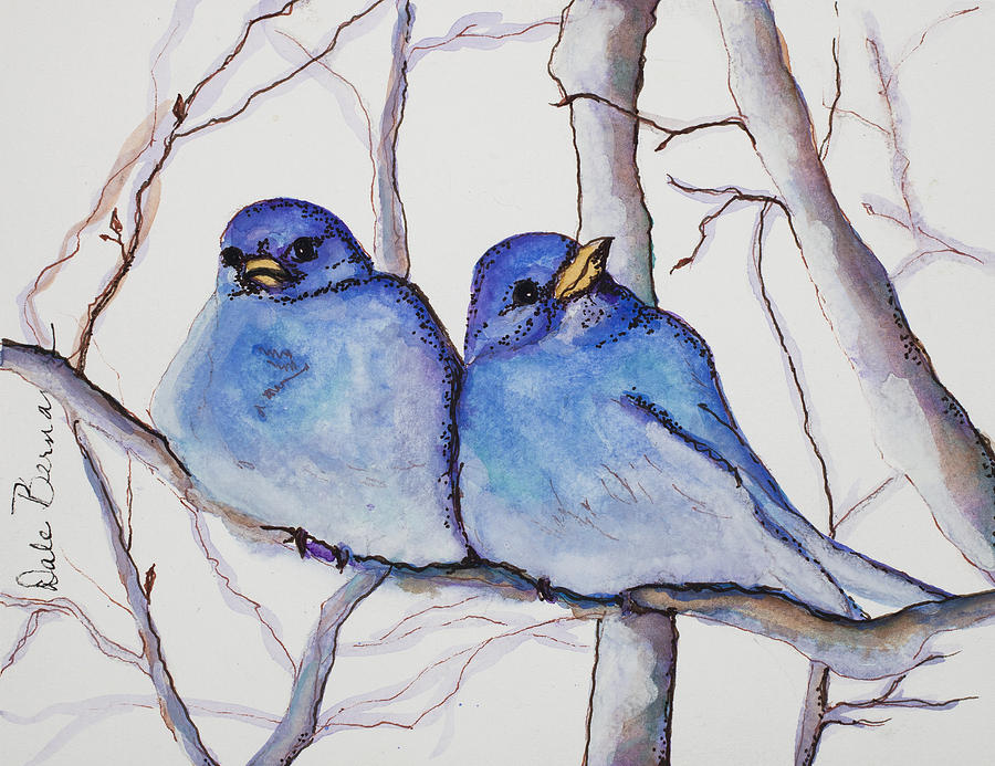 Bluebirds Painting - Bluebirds by Dale Bernard