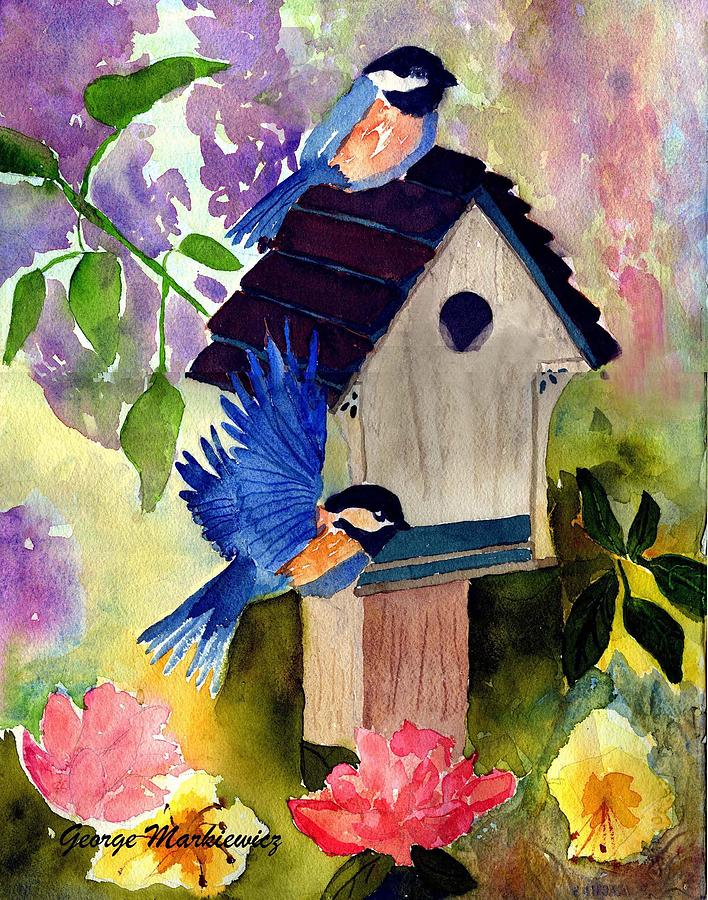 Bluebirds Nesting Print by George Markiewicz