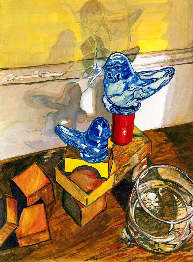 Bluebirds Painting - Bluebirds Of Happiness by Starr Weems