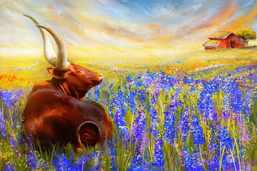 Bluebonnet Dream - Bluebonnet Paintings Painting