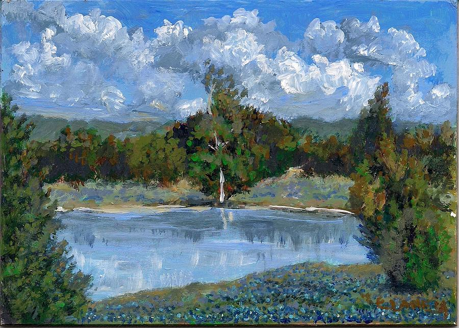 Landscape Painting - Bluebonnet Pond by Elizabeth Lane