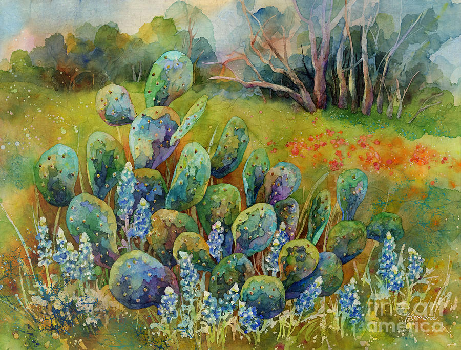 Cactus Painting - Bluebonnets and Cactus by Hailey E Herrera