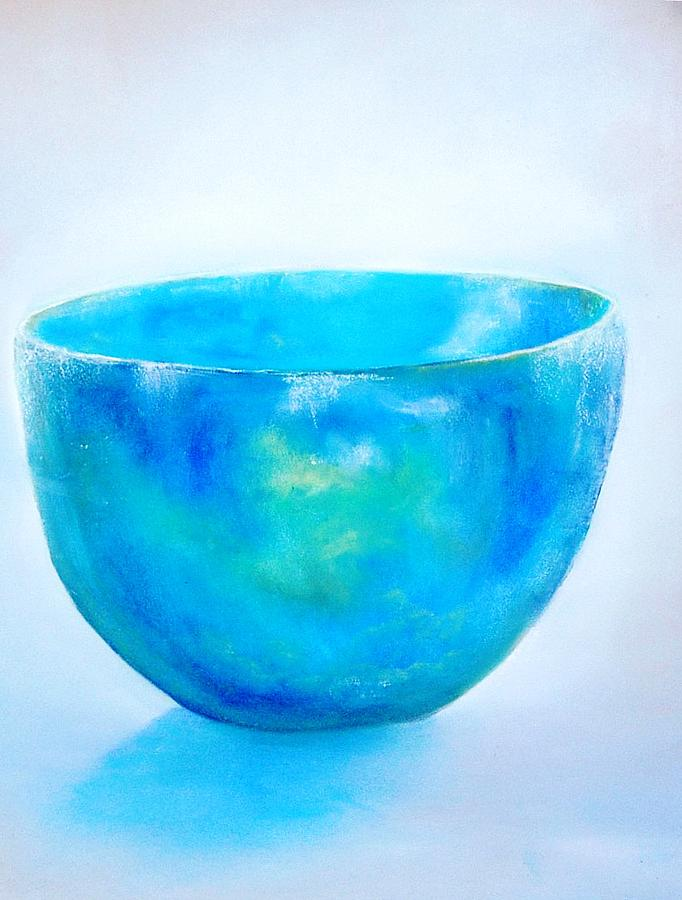 Pastel Painting - Bluebowl by Dick Stolp