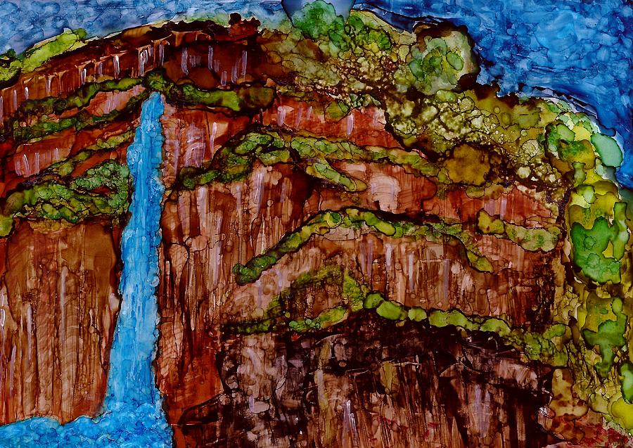 Waterfall Painting - Bluefalls by Joy Dorr