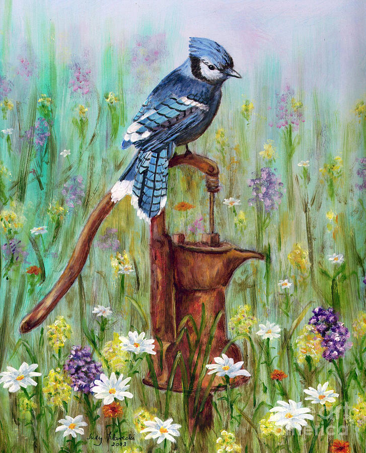 Blue Jay Painting - Bluejay Peaceful Perch by Judy Filarecki