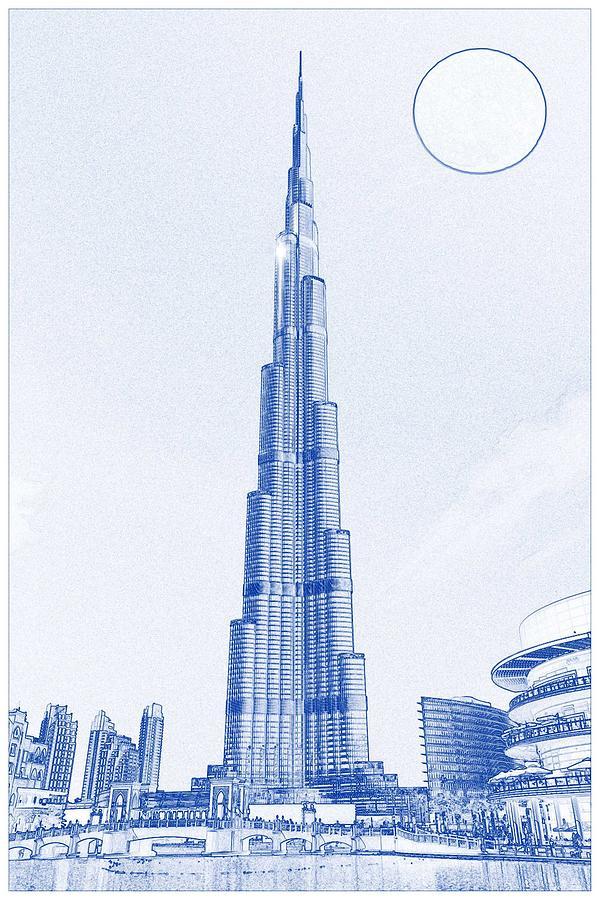 Blueprint drawing of burj khalifa emirates dubai 2s painting by drawing painting blueprint drawing of burj khalifa emirates dubai 2s by celestial images malvernweather Images