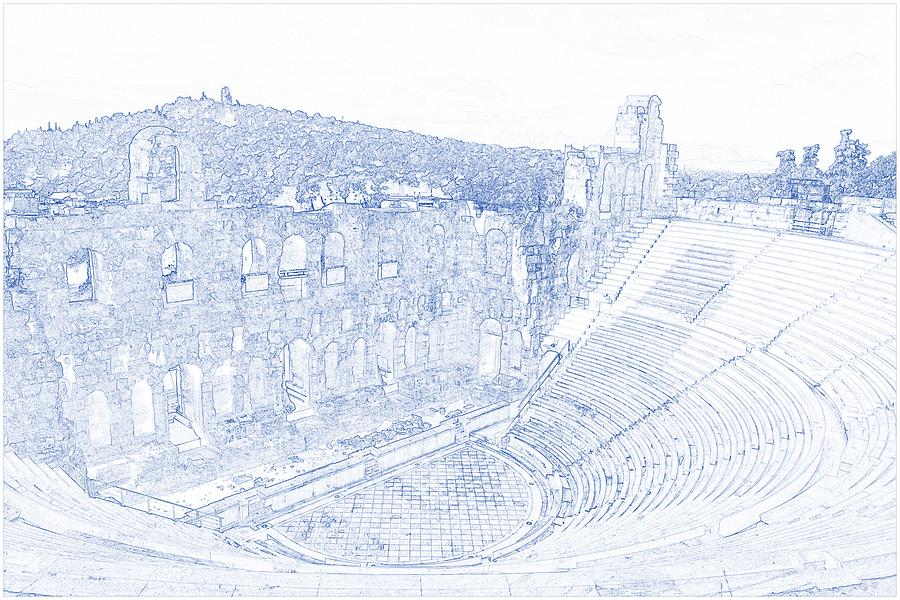 Blueprint drawing of greece athens parthenon acropolis theatre drawing painting blueprint drawing of greece athens parthenon acropolis theatre by celestial images malvernweather Gallery