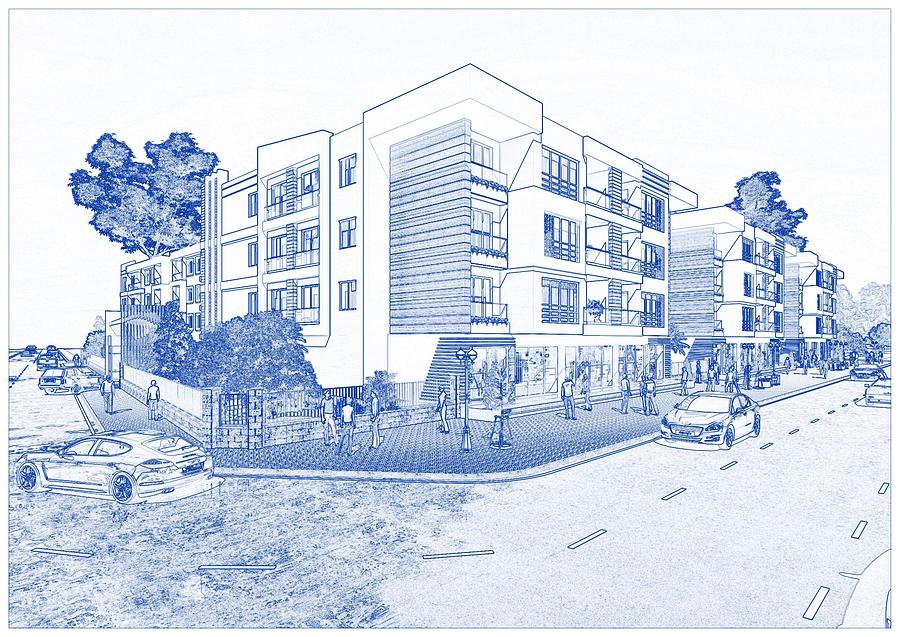 Blueprint Drawing Of Modern Apartment Complex No 1