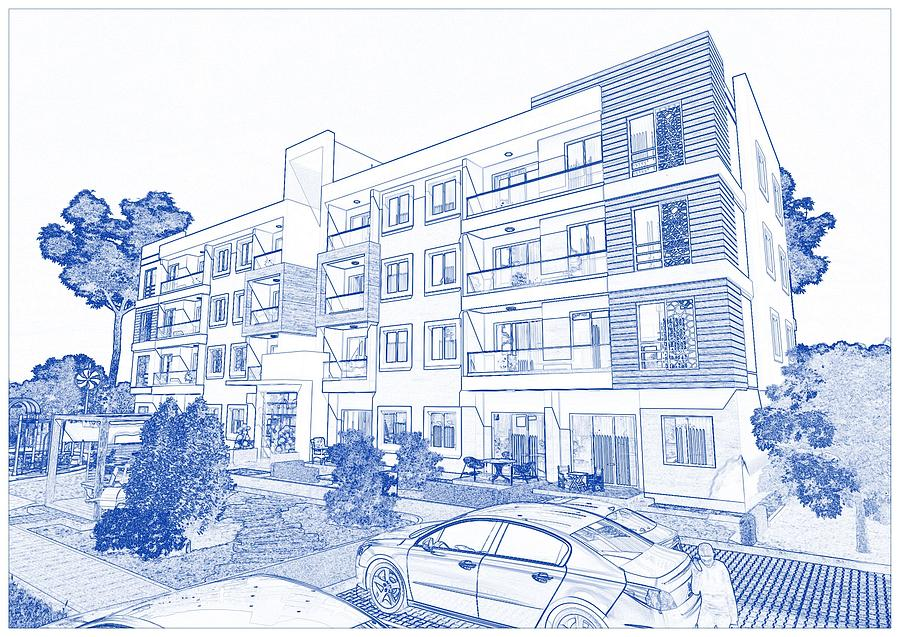 Blueprint drawing of modern apartment complex no 23 painting by blueprint drawing of modern apartment complex no 23 painting by celestial images malvernweather Images