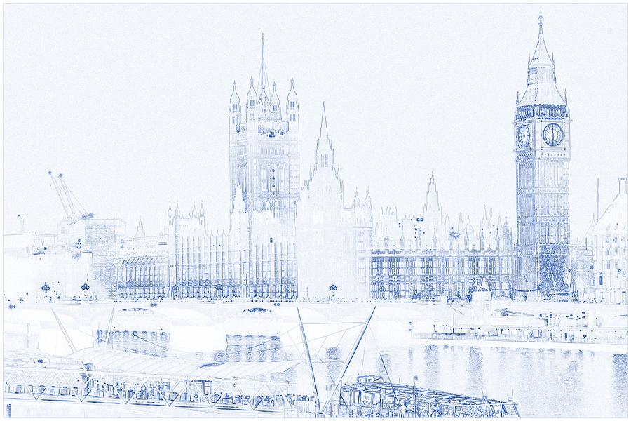 Drawing of modern building 4 london big ben tower painting by blueprint drawing of modern building 4 london big ben tower painting by celestial images malvernweather Image collections