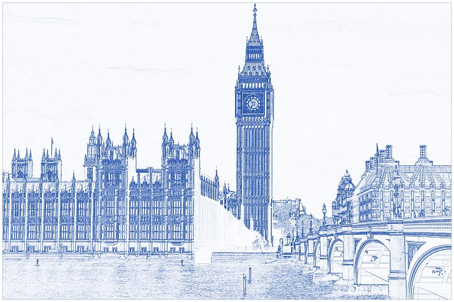 Drawing of modern building 8 london big ben tower painting by blueprint drawing of modern building 8 london big ben tower painting by celestial images malvernweather Image collections