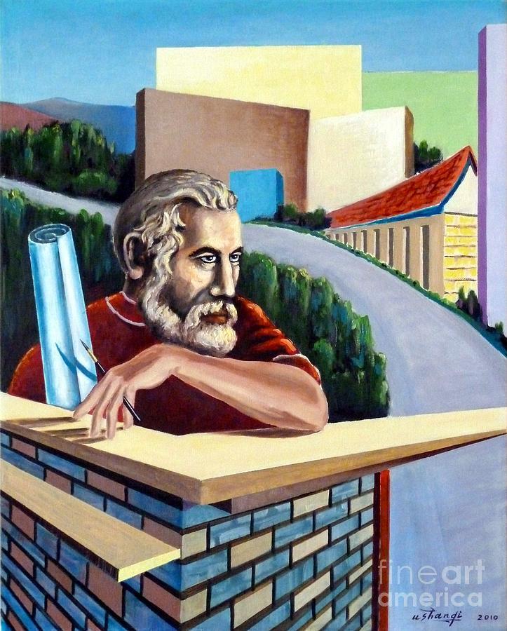 Architect Painting - Blueprint by Ushangi Kumelashvili