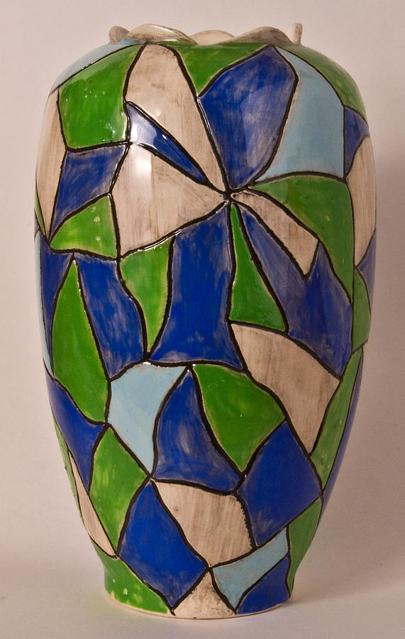 Blue Ceramic Art - Blues  And Greens by Abbe Gore