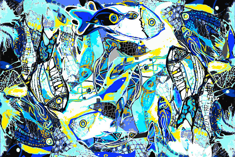 Blues Fishes Digital Art by Natalia Kuruch