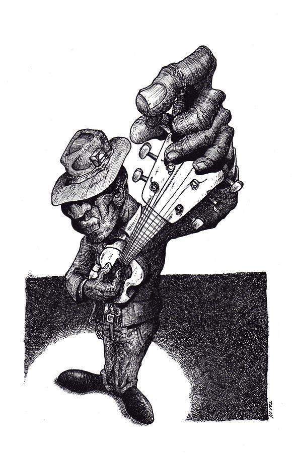 Blues Drawing - Blues Guitar by Tobey Anderson