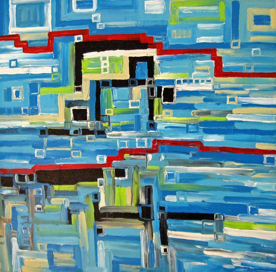 Modern Painting - Blues by Katerina Wagner