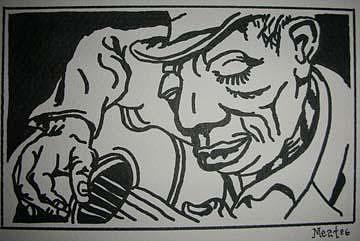 Blues Man 10 5x7 Inch Drawing by Meat-Jeffery Paul Gadbois