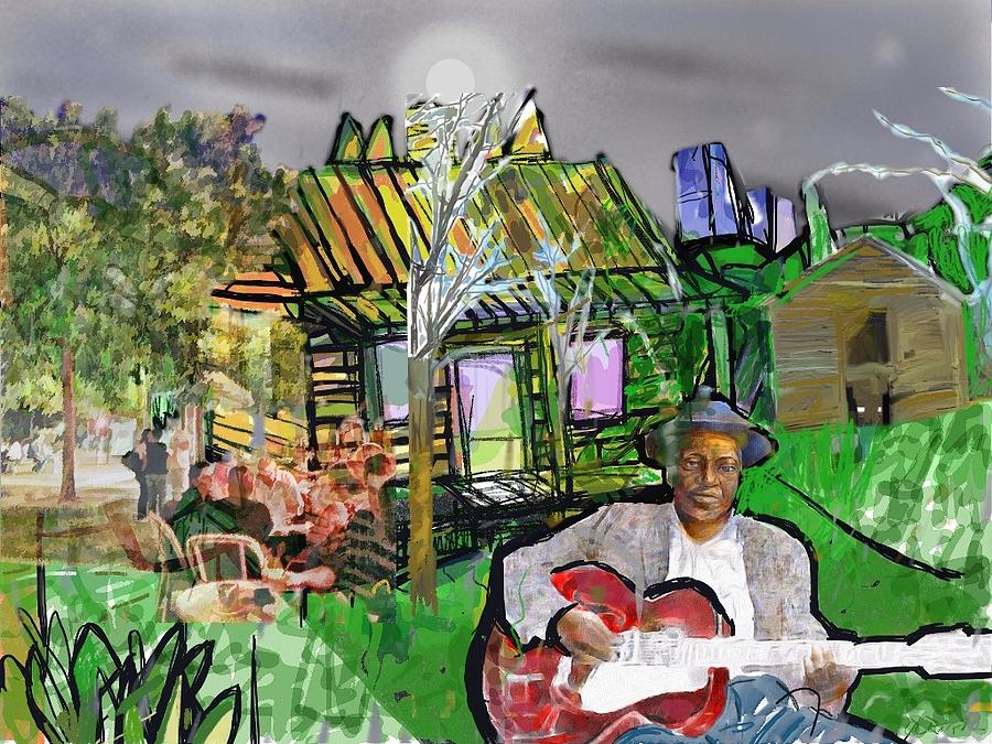 Blues Man and a yellow House by Joe Roache