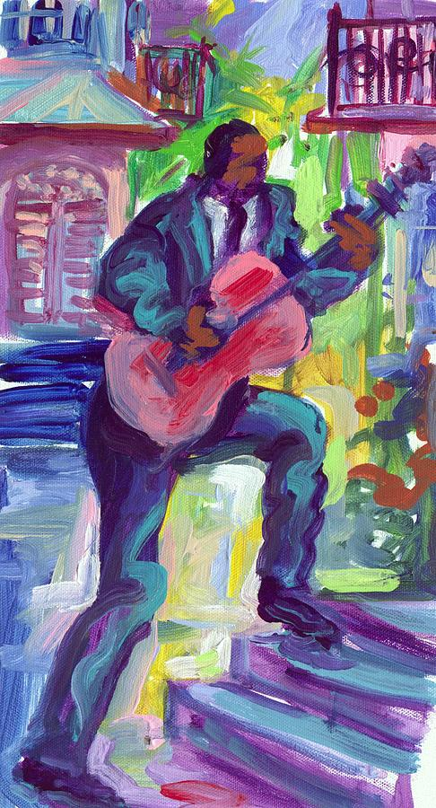 Garden Painting - Blues Man On Steps by Saundra Bolen Samuel