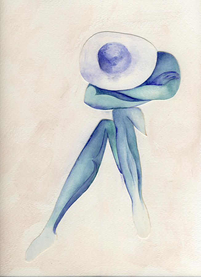 Woman Painting - Blues by Maria Tepper