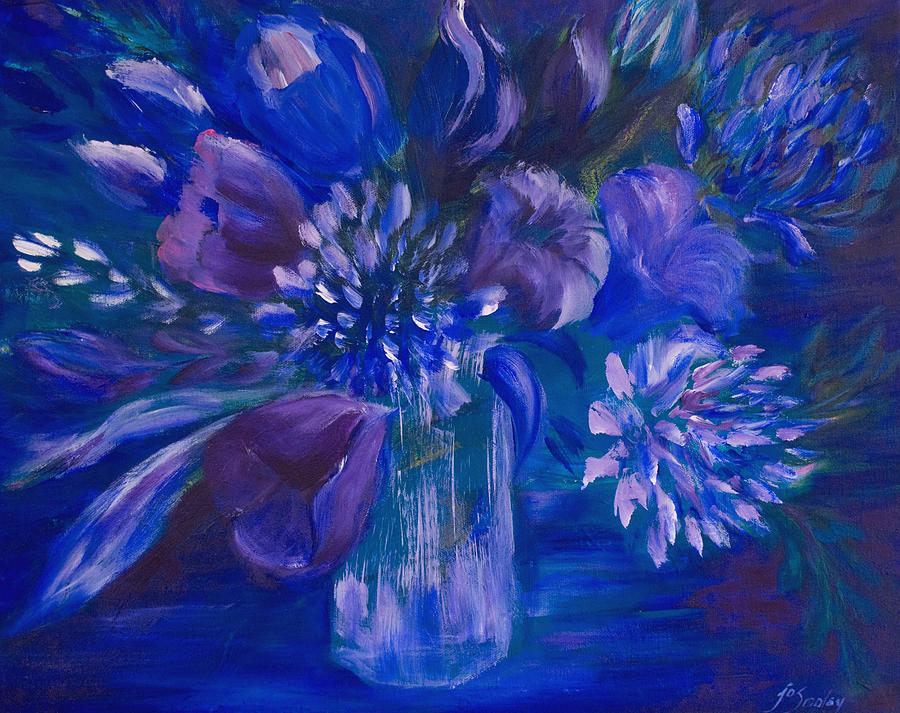 Tulips Painting - Blues To Brighten Your Day by Joanne Smoley