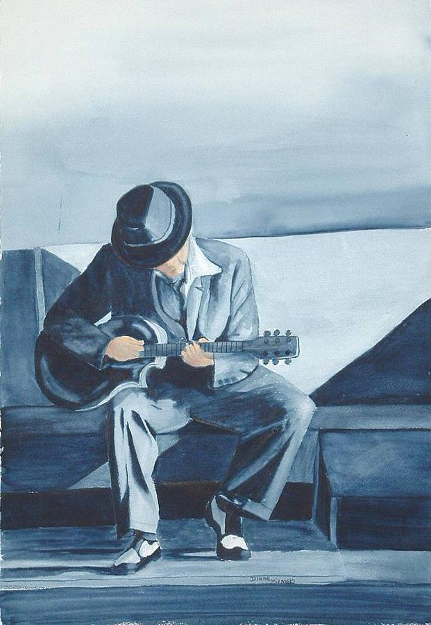 Watercolor Painting - Bluesman by Diane Ziemski