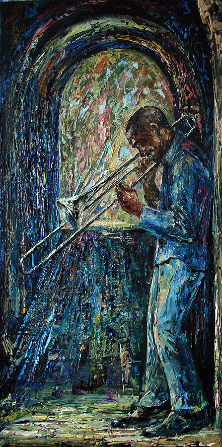 Musician Painting - Bluesy Morning by Natasha Mylius