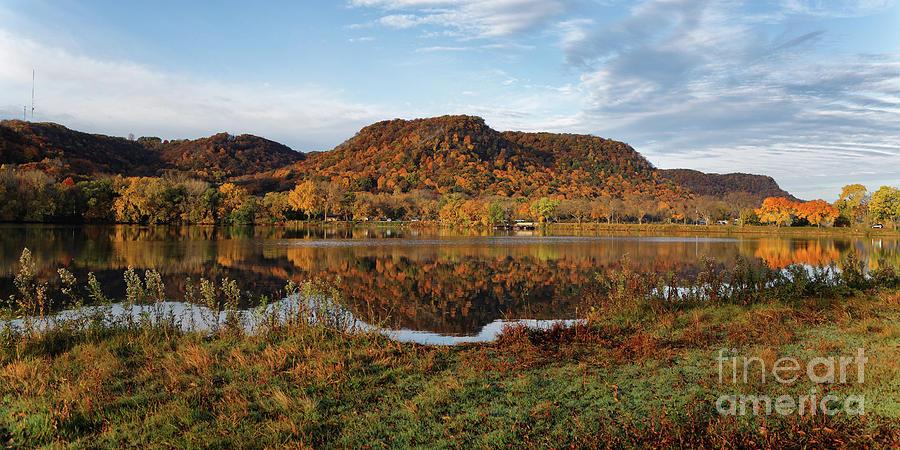 Bluff Reflection and Shoreline Agree in Winona Minnesota by Kari Yearous