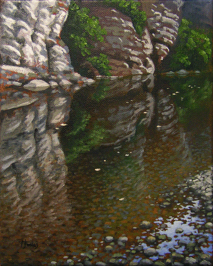 River Painting - Bluff Reflections Buffalo River by Timothy Jones