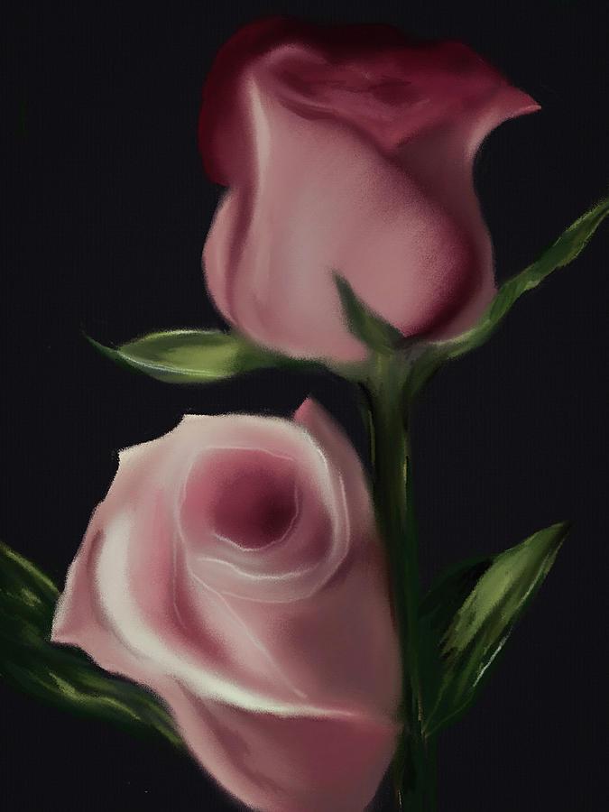 Floral Digital Art   Blush Garden Rose By Michele Koutris